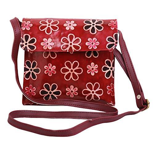 Lonika Collections Bolso de hombro de cuero indio para mujer, bolso vintage con estampado de flores, color Rojo, talla Medium
