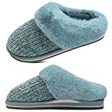 jiajiale Womens Fluffy Double Memory Foam Slippers Ladies Cozy Fuzzy Faux Fur Slip on Warm House Shoes with Arch Support Indoor Outdoor Non Slip Hard Sole Blue 8