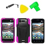 Heavy Duty Hybrid Phone Cover Case Cell Phone Accessory + Extreme Band + Stylus Pen + LCD Screen Protector + Yellow Pry Tool For Straight Talk Tracfone LG Optimus Fuel L34C / Verizon LG Optimus Zone 2 VS415 Vs415pp (T-Stand Black Pink)