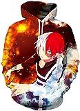 FLYCHEN Hombre Sudaderas con Capucha My Hero Academia Impresión 3D Manga Japonesa Todoroki Shoto All Might - Hielo y Fuego 04 - M