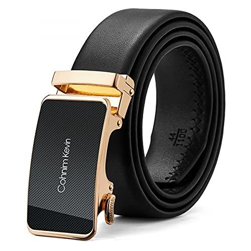 JunJia Cintura da uomo con specchio, cintura per uomo, con fibbia scorrevole, nera, 35 mm, lunghezza 110-130 cm, regolazione precisa -CK06654 Golden||||||| 110 cm