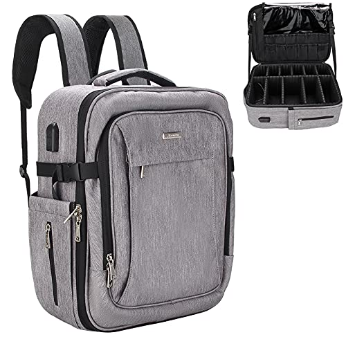 Makeup Backpack Large Professional Makeup Case for Makeup Artist Cosmetic Storage Organizer for Women, Makeup Brush Storage Holder, Makeup Artist Kit, with Adjustable High Dividers(Gray)