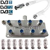 TronicXL 8fach IEC Verteiler Antennenverteiler TV Kabel Adapter Kabelfernsehen 8er