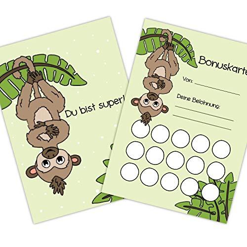 """5x Bonuskarten""""Affe"""" DIN A6 Belohnungssystem Kinder für Jungen Mädchen Punkte sammeln Belohnungstafel Fleißkärtchen Fleißkarte Töpfchentraining Hausaufgaben Hausarbeit Stempelkarte Punktekarte"""