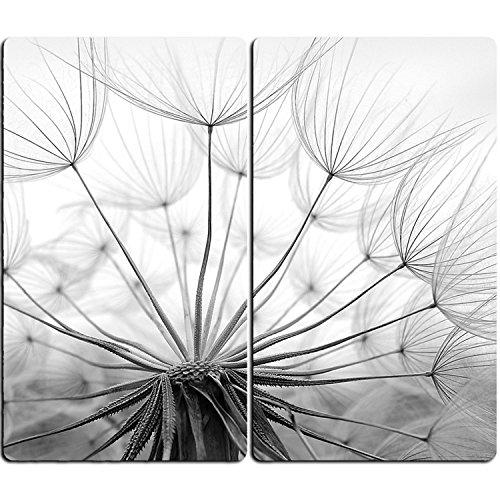 DEKOGLAS | Herdabdeckplatten aus Glas, inklusive Noppen | 2er-Set - 2 Stück 30x52 cm | Herdabdeckung, Schneidebrett, Spritzschutz | Pusteblume
