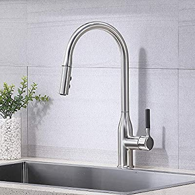 Comllen Commercial High Arc Single Handle Brushed Nickel Pull Down Kitchen Faucet,Stainless Steel Kitchen Faucets With Pull Down Sprayer Kitchen Sink Faucet New Italian Design