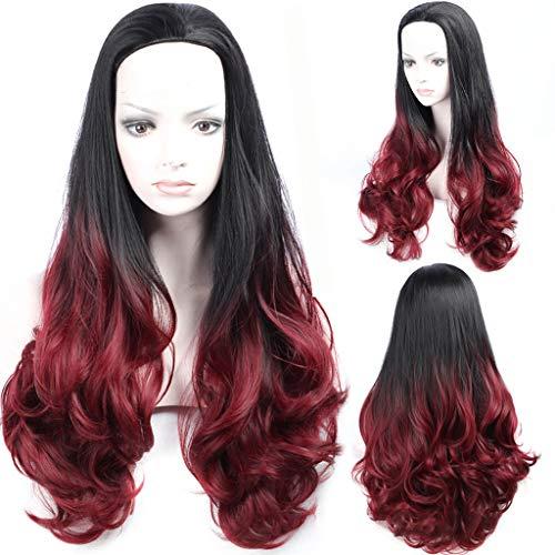HNWNJ Pelucas largas y rizadas onduladas y esponjosas resistentes al calor de fibra sintética para el cabello de 70 cm (color: rojo vino)