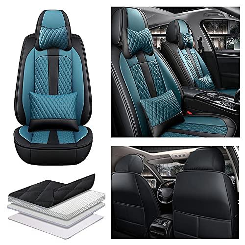 Maibenbao Fundas para Asiento de Coche para Citroen C2 C3 C4 C5 C6 DS3 DS4 DS5 C4L C-Zero E-mehari Cuero de PU,Compatible con airbag,Delanteros de Coche Lujo 2 Piezas(Azul+Negro)