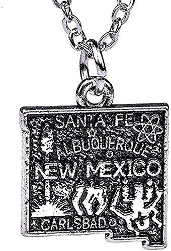 WYDSFWL Collar Collar de Anzuelo Mapa del Estado de los Estados Unidos Collar de México Colgante Contorno Encantos del Estado Encantos chapados en Plata Antigua Regalos Regalo