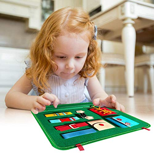 Toddlers Busy Board, Basic Skills Activity Board Early Educational Life Skills and Sensory Toys for Toddlers with Zippers Buttons Buckles