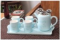 6ピースロマンチックなコーヒー&ティーサービスセットコーヒーカップ、ティーポット、陶土、ヨーロッパの陶磁器ティーセットブルー (色 : 青)