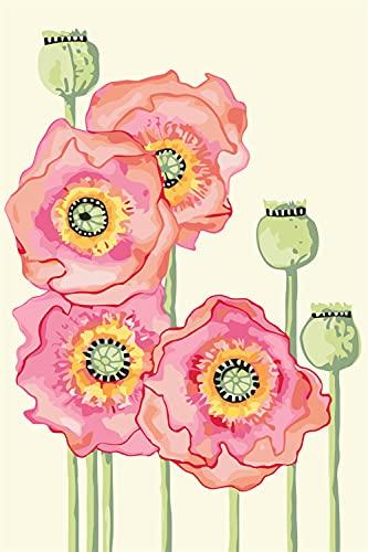 Pintura por Número DIY Flores Rosadas Adulto niño Principiantes Pintura con Pinceles para Hogar El Lienzo Arte Decoraciones navideña Regalos Framed_60x75cm(24x30inch)