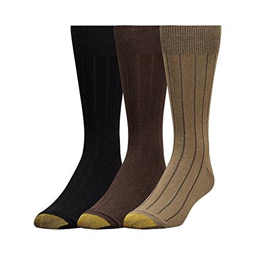 Gold Toe Men's Hampton Socks, 3 Pairs, Olive/Brown/Black, Shoe Size: 6-12.5