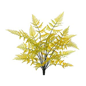 "Silk Flower Arrangements 21"" Leather Fern Bush x23Yellow Moss(pack of 6)"