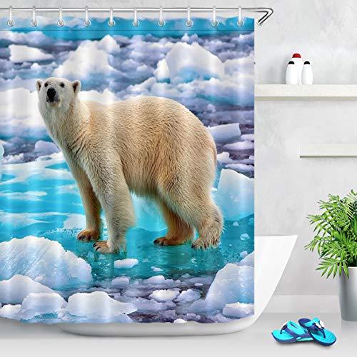 LB Duschvorhang Eisbär 180x200cm Gebrochenes EIS Bad Vorhang mit Haken Extra Lang Polyester Wasserdicht Antischimmel Badezimmer Gardinen