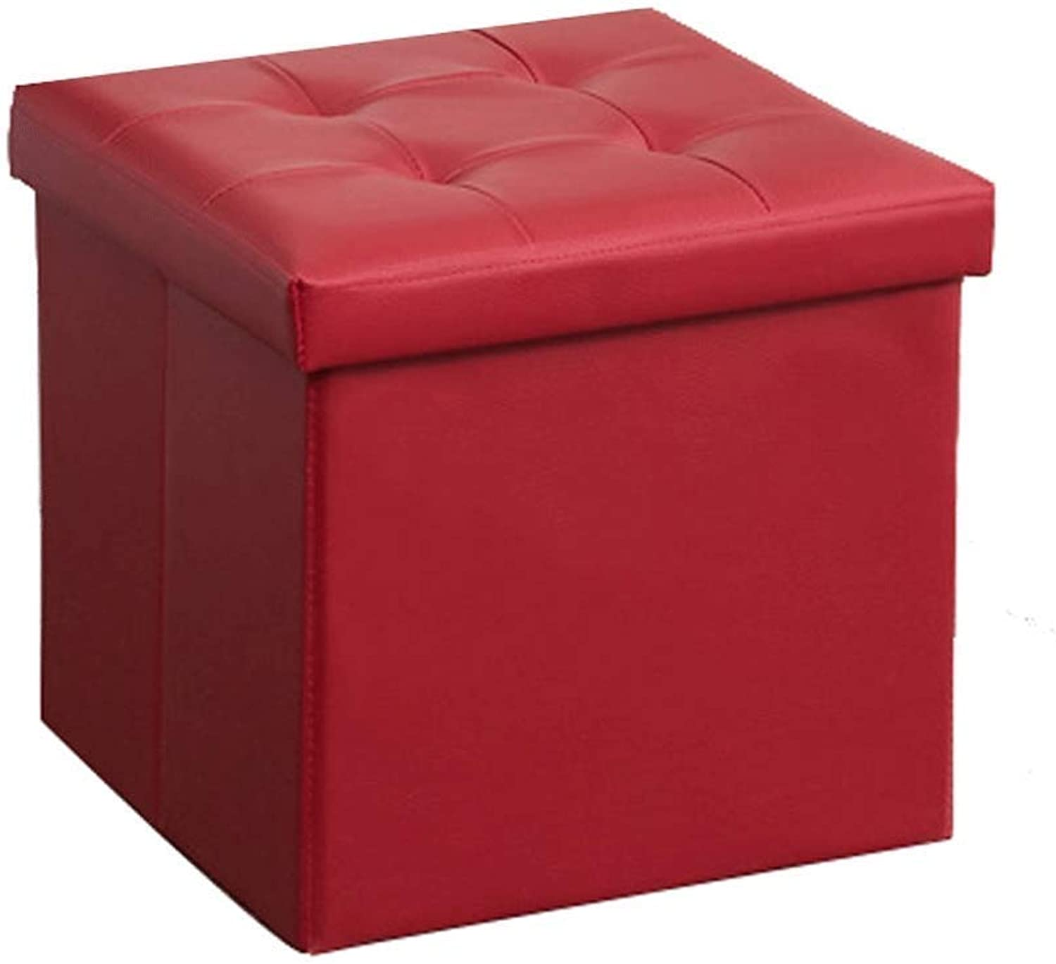 Storage Stool Footstool PU Leather Clothing Large Capacity Storage Foldable Design Fine Workmanship 38X38X38CM Storage Box Haiming (color   Red, Size   38X38X38CM)