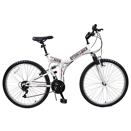 "Stowabike 26"" MTB V2 Folding Dual Suspension 18 Speed Shimano Gears Mountain Bike White"