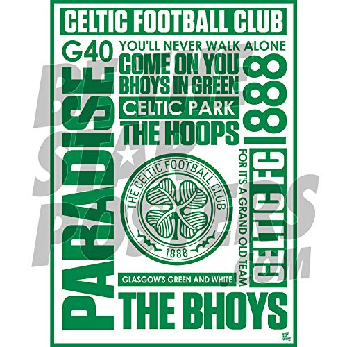 Be The Star Posters Celtic FC 2020/21 Word A2 Football Poster/Print/Wall Art - Officially Licensed Product - Available in Sizes A3 & A2 (A2)