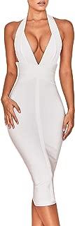 Women's Backless Halter V Plunge Celebrity Night Club Party Bandage Bodycon Midi Dress
