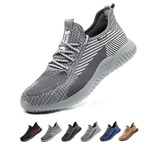 Zapatos de Seguridad para Hombres Zapatos de Acero con Punta de Seguridad,Zapatillas Deportivas Ligeras e Industriales Transpirables, 605 Grey 44