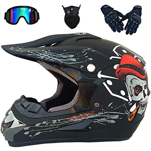 Motocross Helmet Kids Set, Full Face MTB Helmet with Goggles Gloves Mask, Adult Men Women Motorcycle Motorbike Off Road Crash Helmet