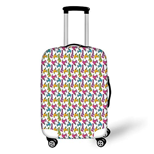 Travel Luggage Cover Suitcase Protector,Teen Room Decor,Retro Colorful Roller Skates in Vivid Tones Girls Sports Hobby Illustration, for Travel,L