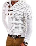 JinAnHong Los Hombres de Las Chaquetas de Jogging Botón De La Bocina Capucha Suéter Suéter Líneas Gruesas Estilo Delgadas Estándar Tejido De Cuero All-Over Bosque mágico (Color : White, Size : M)