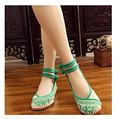 enochii Femmes à la Main Old Peking Chaussures Chaussures Florales Chinoises Brodées Vintage Femme Ballerines Mary Jane Ballerine Flat Ballet Cotton Loafer Tissu Chaussures de dansegreen-EU38