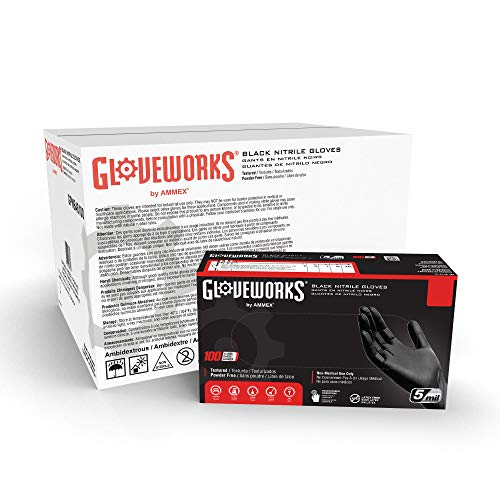 GLOVEWORKS Industrial Black Nitrile Gloves, Case of 1000, 5 Mil, Size X-Large, Latex Free, Powder Free, Textured, Disposable, Food Safe, GPNB48100