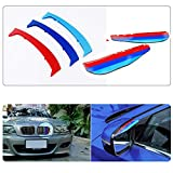para 98-01 3 Serie E46 Sedan and Touring 3D Colors M Front Grille Trim Strips Cover Stickers+Rear View Mirror Rain Eyebrow 5 Piezas