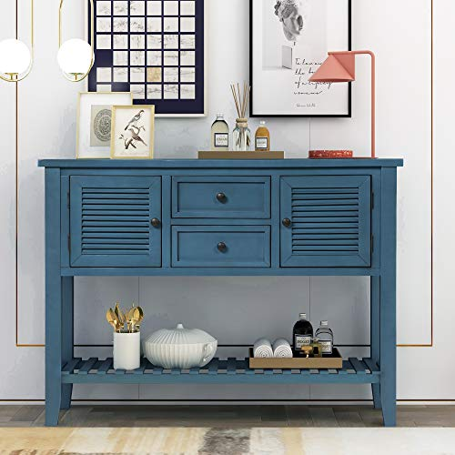 Retro Console Table Sideboard with Shutter Doors, Direct Console Table Sofa Table with Two Storage Drawers and Bottom Shelf for Entryway, Living Room, Dining Room (Navy)