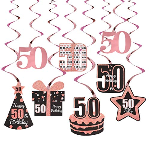 Excelloon Rose Gold 50th Birthday Decorations for Women - 8Pcs Foil 50th Hanging Swirls - Happy 50 Birthday Cake Hat Gifts Star Party Decorations Supplies