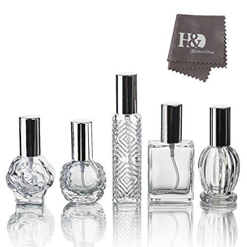H&D Clear Vintage Lege Navulbare Parfum Glazen Fles Verstuiver voor Bruiloft Geschenken Thuis Decor Set van 5