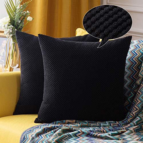 MIULEE 2er Set Granulat Kissenbezug Ananas Weiches Massiv Dekorativen Quadratisch Überwurf Kissenbezüge Kissen für Sofa Schlafzimmer 16