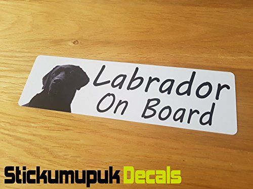 Labrador on Board Car Van Sticker/Decal HQ Print Externe Window Sticker, Motorfiets of Laptop Sticker/Decal - 160mm x 50mm kleur Gedrukt Vinyl Auto Sticker/Decal Free P+P
