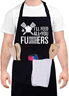 JALEBRO پیشبندهای خنده دار سیاه و سفید برای مردان و زنان ، قابل تنظیم با 3 جیب ، هدایای آشپزی کباب کردن BBQ سرآشپز آشپز