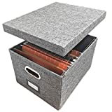 Linen File Storage Box Includes 10 A4 Hanging Files - Collapsible Easy Filing Organizer with Lid - Steel Glides Fit Perfectly (A4 / Letter Size)