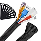 MOSOTECH Organizador Cables, 2X 1,6m Cubre Cables Expandible, Diámetro Ajustable de 16 a 28 mm, con 10 Reutilizables Bridas, para Hogar y Oficina Recoge Organizar Ocultar Ordenar Cables