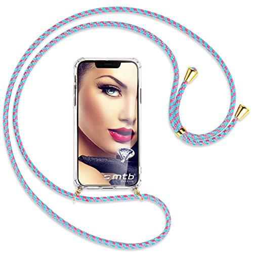 mtb more energy Collar Smartphone para Samsung Galaxy A32 5G (SM-A326, 6.5'') - Rosa+Menta/Oro - Funda Protectora ponible - Carcasa Anti Shock con Cuerda Correa
