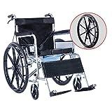 Sillas con inodoro Cmoda con ruedas para inodoro, Cmoda plegable junto a la cama Silla de ruedas, Scooter para discapacitados, Rueda grande silenciosa y anti-presin, para adultos, Discapacidad, A