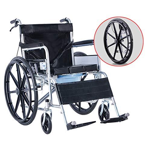 Sillas con inodoro Cómoda con ruedas para inodoro, Cómoda plegable junto a la cama Silla de ruedas, Scooter para discapacitados, Rueda grande silenciosa y anti-presión, para adultos, Discapacidad, A