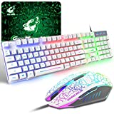 Gaming Tastatur Und Maus Set, QWERTZ German Layout Regenbogen LED Hintergrundbeleuchtung Ergonomische Keyboard 6 Tasten 2400 DPI Maus und Mauspad, USB Verkabelt, Kompatibel mit PS4 XBox, Weiß