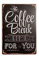 コーヒータイム 金属板ブリキ看板警告サイン注意サイン表示パネル情報サイン金属安全サイン