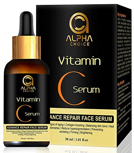 ALPHA CHOICE Vitamin C Serum for face, Anti aging, Reduce hyperpigmentation, Collagen boosting, Even skin tone, For women and men- 30ml