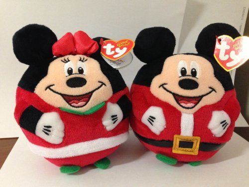 Ty Christmas  Mickey Mouse and Minnie Mouse Plush Toys (Set of 2 Ty Holiday Beanies 5.5')