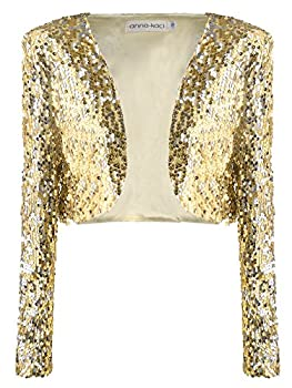 Anna-Kaci Womens Shiny Sequin Long Sleeve Glitter Cropped Blazer Bolero Shrug Gold XX-Large