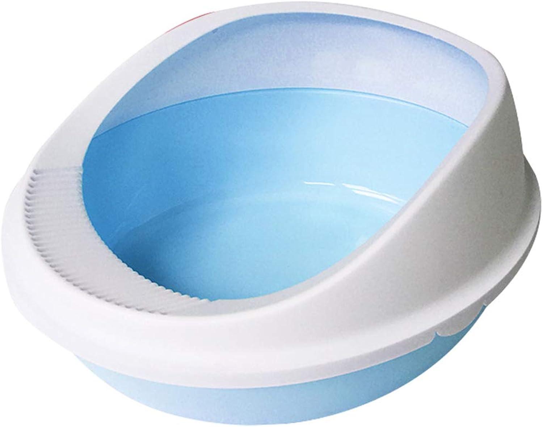 Cat Litter Box Cat Nest Semiclosed Pet Toilet Bowl Cat Toilet Cat Pot AntiSplashing Cat Sand Basin Pet Basin Cat Toilet Cat Supplies,bluee,50cm