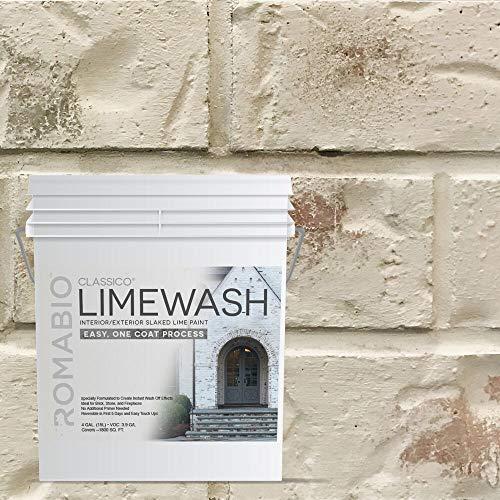 Romabio Classico Limewash Interior/Exterior Paint, Italian slaked-lime, One Coat, Riposo Beige, 15L/4GAL