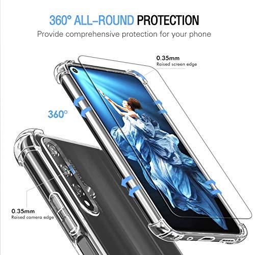 Hülle für Huawei Nova 5T / Honor 20 + 3X Panzerglas Schutzfolie, Transparent Weiche TPU Silikon Handyhülle Anti-Kratzer Stoßfest Durchsichtig Schutzhülle für Huawei Nova 5T / Honor 20 - 5