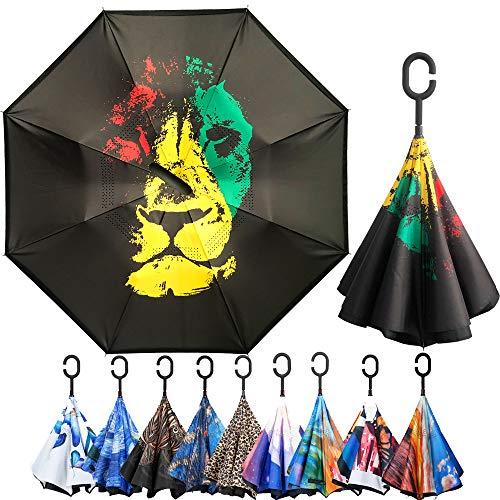 ARDECO Double Layer Inverted Umbrella Cars Reverse Umbrella, Windproof UV Protection Big Straight Umbrella for Car Rain Outdoor with C-Shaped Handle (KD-QOBB-O85U)
